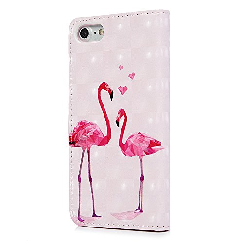 Lanveni Handyhülle für iPhone 7 Flip Case Cover PU Lederhülle Schutzhülle Magnetverschluss Ledertasche mit Stander Function Brieftasche Card Slot Handy Tasche mit Bunte Gemalt Design (Blauer Schmetter Diamant-Flamingo