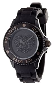 ICE-Watch - Montre femme - Quartz Analogique - Ice-Love - Black - Small - Cadran Noir - Bracelet Silicone Noir - LO.BK.S.S.10
