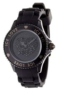ICE-Watch - Montre femme - Quartz Analogique - Ice-Love - Black - Unisex - Cadran Noir - Bracelet Silicone Noir - LO.BK.U.S.10
