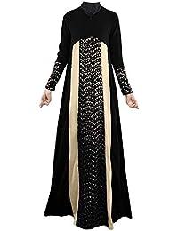 Lejorce Vestidos de Manga Larga con Cuello Redondo árabe musulmán Abaya ...