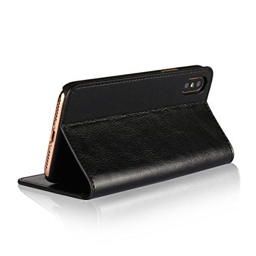 Cover iPhone 8, Cover iPhone 7, Jaorty Libretto di copertina con custodia in cassa di lusso con custodia in pelle con fascia di ricambio e slot per slot per iPhone 8 / 7 (4.7 ) - Rosso iPhone X (Nero)
