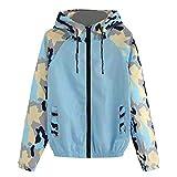 Vovotrade Damen Lightweight Softhelljacke Windjacke Regenjacke Camouflage Patchwork Outdoor Übergangsjacke Hoodie Kapuzenjacke Jacket Mantel Bluse Atmungsaktiv