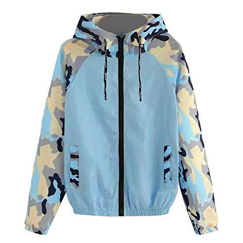 Herbstbluse, langärmelig, für Damen, Camouflage, Patchwork, Rundhalsausschnitt, Kapuzenpullover, blau, m - Hybrid Duffle