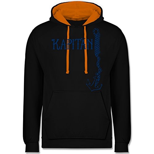(Statement Shirts - Kapitän Anker - L - Schwarz/Orange - JH003 - Kontrast Hoodie)