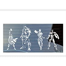 Juego de adhesivos para las ventanas del coche con diseño de los Vengadores de Marbel, Hulk, Iron Man, Capitán América y Thor, en color blanco