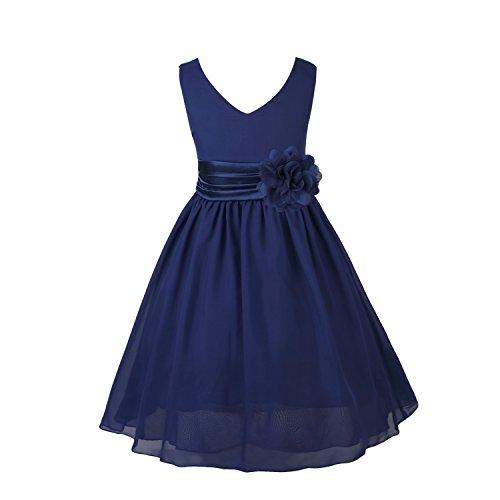 nkleider Kinder Mädchen Prinzessin Kleid für Brautjungfern Hochzeits Chiffon Sommer Festzug Marineblau - 6(Asien), 116(DE) ()