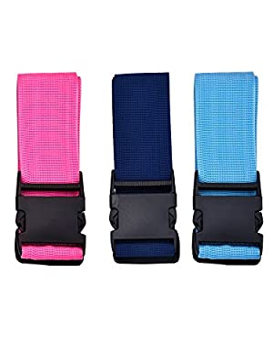 eBoot Adjustable Suitcase Belts Travel Luggage Belt Strap, 3 Pack