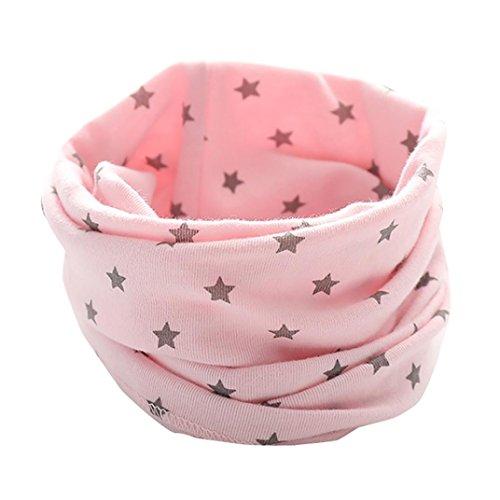Otoño Invierno Bufanda para Bebé Niños Niñas,O Cuello Patrón de Estrellas Algodón Pañuelos By VENMO (rosa)