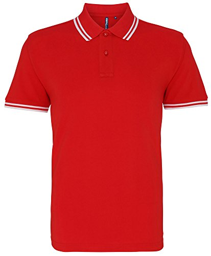 Asquith & Fox Mens Classic Fit Tipped Polo - 14 Colours/Sml-3XL Red/ White