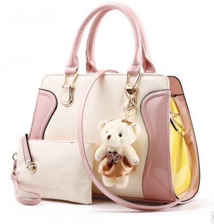 LDMB Damen-handtaschen PU Leder Sweet Lady Zauber Farbe kleine tragen weibliche Schulter Messenger Tasche Pink