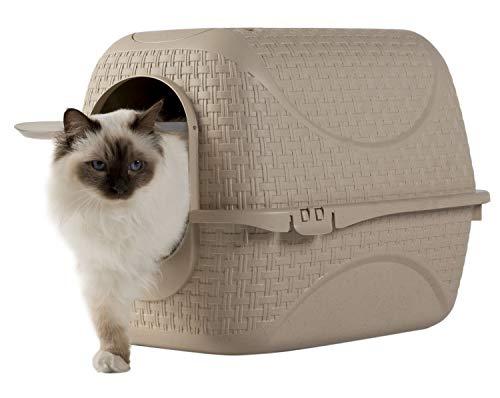 PETGARD Katzentoilette Katzenklo Haubentoilette mit Rattan Optik, Filter und Streuschaufel beige