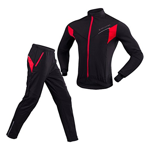 GWELL Herren Winter Fleece Radtrikot Set Fahrrad Trikot Langarm + Radlerhose Thermo Winddicht 2XL