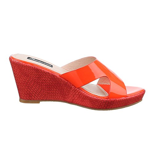 Damen Schuhe, BG-25, SANDALETTEN KEIL WEDGES PUMPS Rot