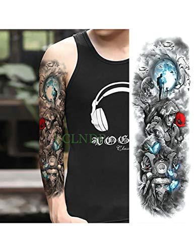 Astty adesivo tatuaggio impermeabile autoadesivo del tatuaggio temporaneo carpa pesce fiore braccio pieno falso tatto flash manica tatoo di grandi dimensioni per le donne uomini, dark khaki