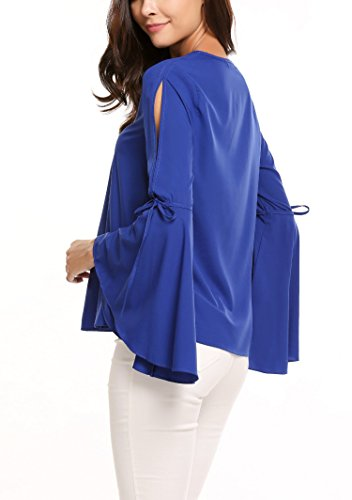 Zeagoo Damen Sommer Shirt Langarm Chiffon Tops Bluse T-Shirt Casual Loose Fit Blusen V-Ausschnitt Einfarbig Oberteil mit Trompetenärmel Blau