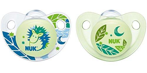 NUK Night und Day Silikon-Schnuller, mit nachleuchtendem Knopf, kiefergerecht, 0-6 Monate, BPA-frei, 2 Stück, Boy