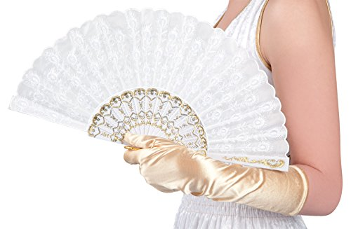 Boland 00508 - Fächer Granada, Circa 25 cm, weiß (Kostüme Halloween-make-up Coole Und)