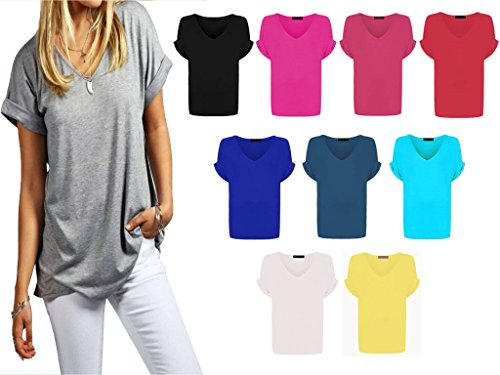 Papaval Womens Baggy Fit V Neck Top Ladies Turn Up Sleeve Loose Batwing Short Cap Sleeve
