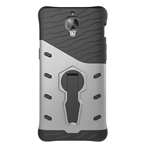 Für OnePlus 3 Neue Hybrid-Rüstung Schock Absorbtion Cover, 2 In 1 Durable TPU + PC Heavy Duty 360 ° Rotierende Stand Dual Layer Shockproof Case Cover ( Color : Silver ) Silver