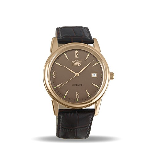 Davis 1906 - Mens Automatic Watch Retro Rose Gold Case Grey Dial Date Brown Leather Strap