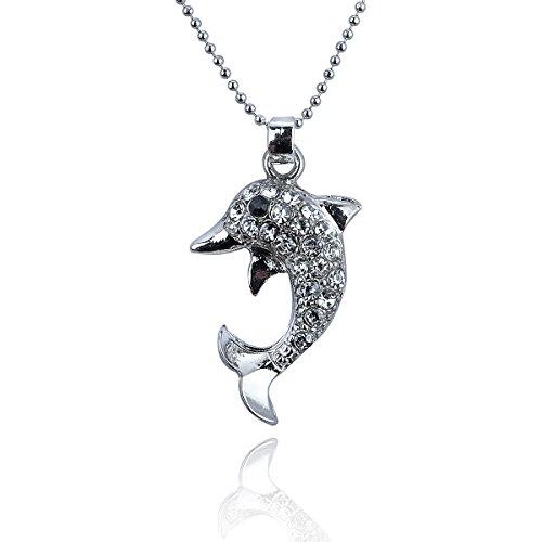 Papa yana a152elegante da donna pendente della collana con catena in argento delfino della occupato con strass