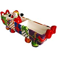 Charming Ceramic Snowman Chip & Dip Dish  / Snack Tray Christmas Tableware