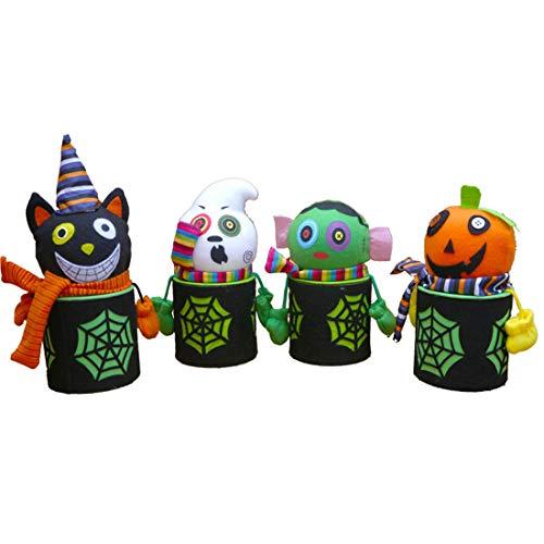 (VJUKUB Halloween Portable Flachs Stoff Candy Jar Festival Kinder Dekoration Requisiten Spielzeug Anzieh Zubehör Spinnennetz Kürbis Geist Geschenk Tasche Candy Bag Prop Tasche 4 Pack)