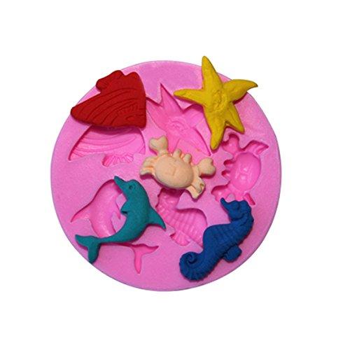 ODN Schöne Sea Shell Conch und Delphin Form 3D Silikon Backform für Kuchen Fondant Dekorieren (Delphin)
