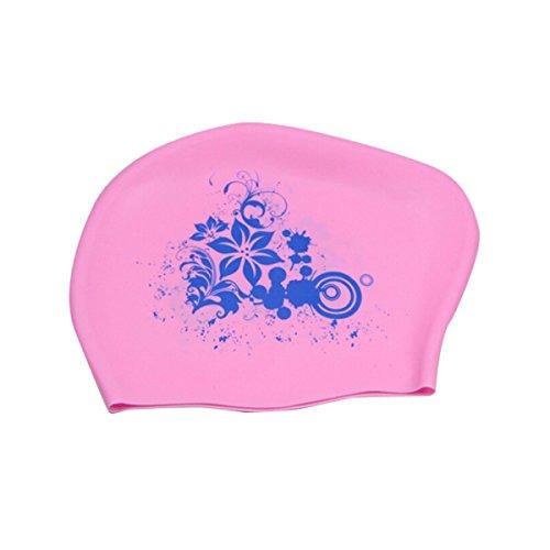 Butterme Damen Silikon Seidig Wasserdicht Schwimmen Mütze mit Floral Printing für lange Haare erwachsene Frauen zu halten Haar gesund und trocken (Rosa)