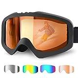 Karvipark Skibrille, Ski Snowboard Brille Brillenträger Schibrille Verspiegelt, Doppel-Objektiv OTG UV-Schutz Anti Fog Snowboardbrille Damen Herren Kinder für Skifahren Snowboard (Orange)