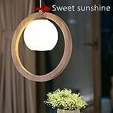 Nordic lampadario in vetro cerchio legno lampada a sospensione Zen Arte Soggiorno Sala Da Pranzo Camera Da Letto Illuminazione, E27(non incluse)