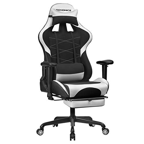 SONGMICS Gaming Stuhl mit Fußstütze, 150 kg, Bürostuhl, Schreibtischstuhl, Lendenkissen, Kopfkissen, hohe Rückenlehne, ergonomisch, Stahl, Kunstleder, atmungsaktives Meshgewebe, schwarz-weiß RCG52BW