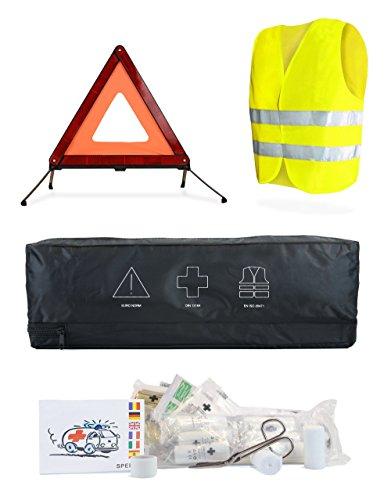 CarAid Erste-Hilfe Set-Auto, Warn-Dreieck KFZ, Verbands-Kasten, Warn-Weste, Car-Emergency Kit I entspricht Deutscher Norm