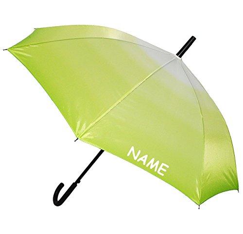 """großer XL Regenschirm - Automatik - """" einfarbig grün - Töne / Batik - Regenbogen """" - ø 110 cm - incl. Name - Schirm - Stockschirm für - Damen - Frauen & Herren / Erwachsene - Partnerschirm - Automatikschirm groß / sturmfest - einfarbige grüne - Regenschirme"""