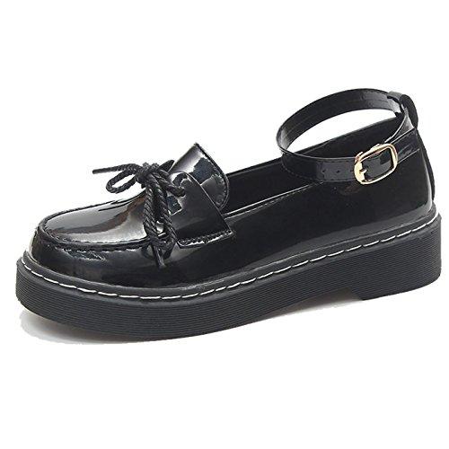 CHNHIRA Femme Rétro Chaussure en Cuir Bout Rond Sabots Mary Janes Mocassins Chassures de Loisir à Fond Épais Noir Vernis