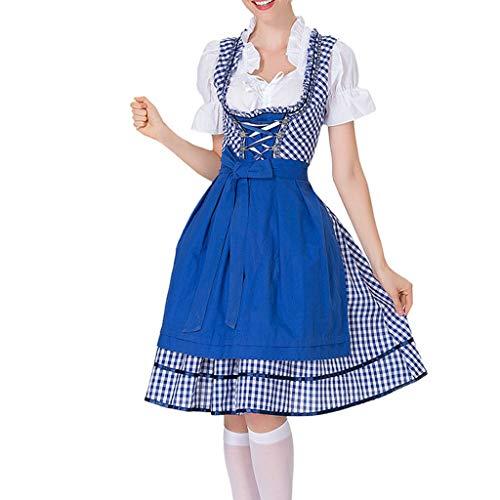 Womens Fraulein Kostüm Oktoberfest - Oktoberfest Kostüm für Damen Bierfest Spitzen Kleid Anzug Trachtenkleid Dirndl Tavern Maid Dress Traditionelle Kleidung karnevalskostüme Cosplay Weihnachtsfeier Kleider (2XL, Blau)