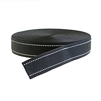 50 Meter Gurtband reflektierend, Reflektorband, schwarz, verschiedene Größen