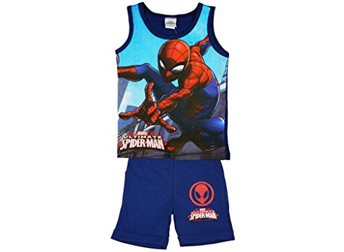 (Jungen Sommer-Set Original Marvel´s Ultimate Spider-Man aus Baumwolle, T-Shirt ärmellos und Short, GRÖSSE 98, 104, 110, 116, 122, 128, Kurze Hose und Shirt für Kleine Super-Helden Größe 1)