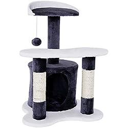 Dibea KB00141 Rascador para Gatos, Altura 65 Cm, Árbol Escalador Arañar Juguete Color Gris y Blanco