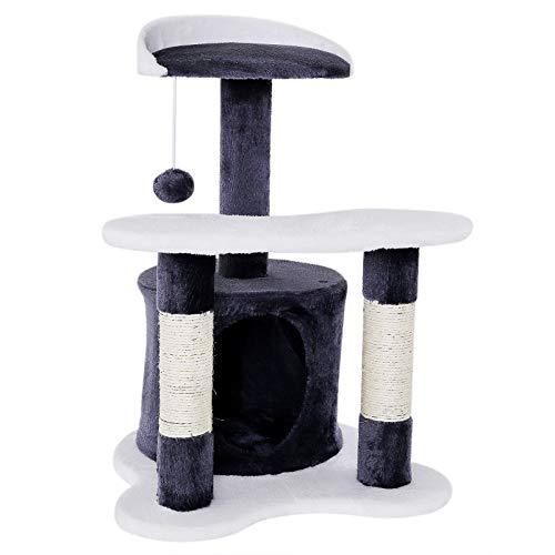dibea KB00141, Kratzbaum - Kletterbaum für Katzen (Höhe 65 cm), grau/weiß -