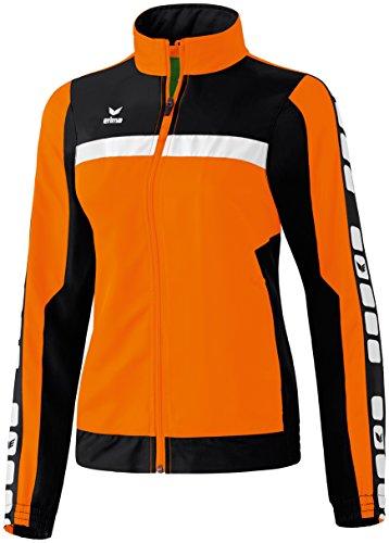 Erima Damen Präsentations-/Sportjacke Classic 5-C, orange/schwarz/weiß, 34