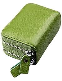 Mengshen Bloqueo RFID Carteras de Mujer, excelente Titular de la Tarjeta de crédito con Cremallera Doble de Gran Capacidad, PX09 Verde