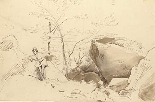 Berkin Arts Jean Baptiste Camille Corot Giclée Leinwand Prints Gemälde Poster Wohnkultur Reproduktion(Figur lehnt Sich an Rock) #XFB -