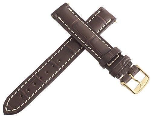echtem Longines braun Alligator Leder Armbanduhr Band Gold Ton Schnalle 14mm