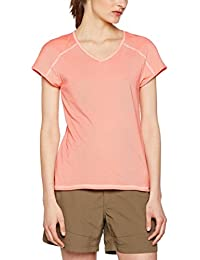 The North Face Dayspring, Camiseta para Mujer, Rojo (Cayenne Red/Tropical Peach Stripe), Large (Tamaño del Fabricante:L)