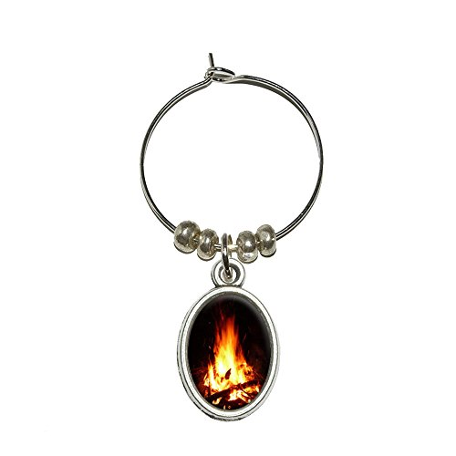 p Camping Fire Pit Holzscheite Flammen Wein Glas Oval Charm Drink Marker (Lagerfeuer-partys)