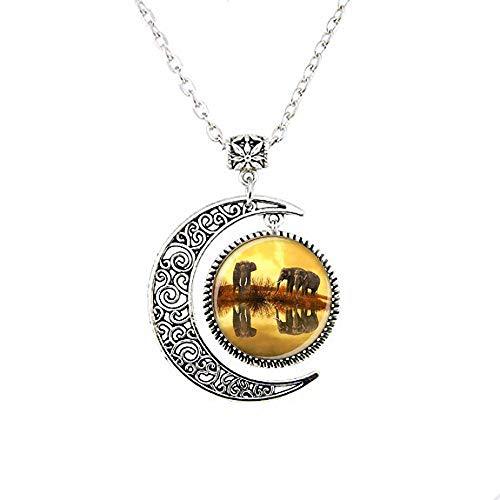 Collar de elefante con diseño de luna, joyería de elefante, regalo para...