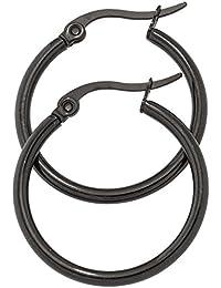 Jobo aros esmaltado en negro pendientes acero inoxidable redondo