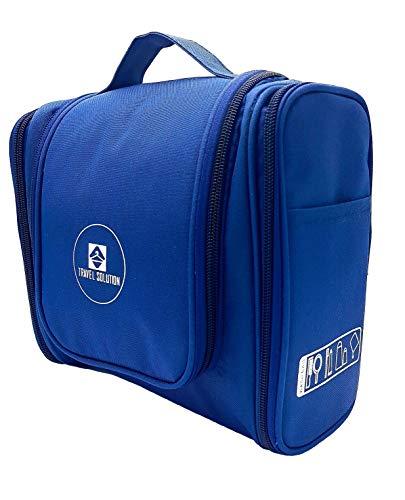 TRAVEL SOLUTION Kulturbeutel zum Aufhängen Kulturtasche Kosmetiktasche Waschtasche Waschbeutel für Damen und Herren (Marineblau)
