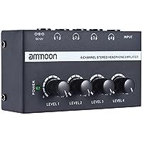 ammoon HA400 Ultra-compact 4 canaux Mini Audio casque stéréo Amplificateur avec adaptateur d'alimentation